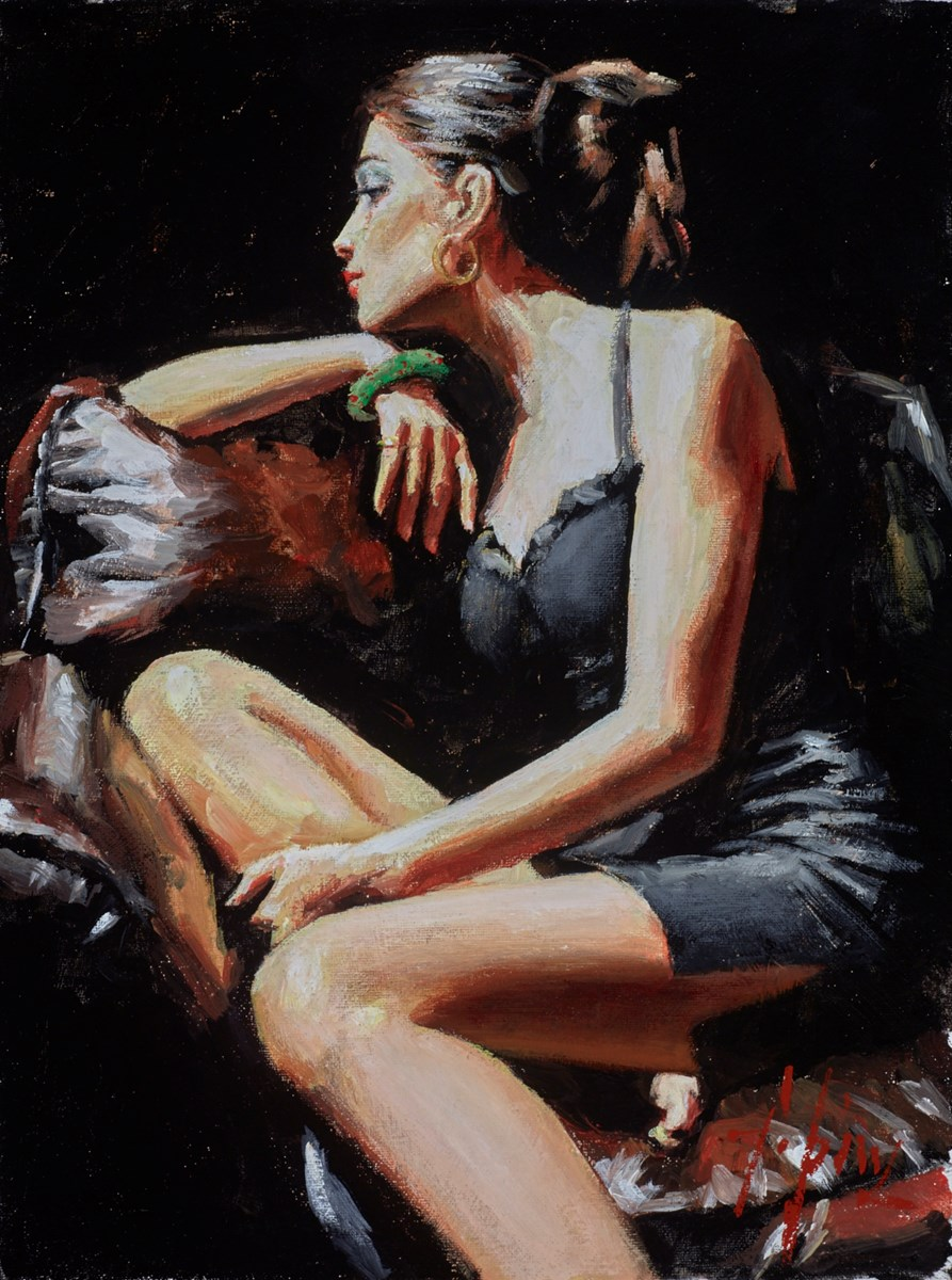 Study for Tess on Leather Couch (Green Bracelet)